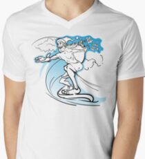Careless slim Santa surfing the wave and loosing the gifts from his huge sack Men's V-Neck T-Shirt