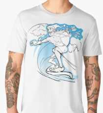 Careless slim Santa surfing the wave and loosing the gifts from his huge sack Men's Premium T-Shirt