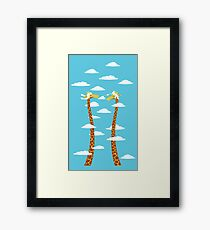 Love Giraffe in The Bright Clouds Framed Print