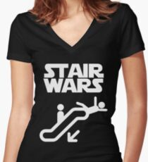 stair wars Women's Fitted V-Neck T-Shirt