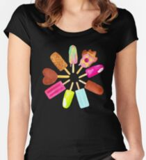Aussie Ice Creams - Scatter - Black Women's Fitted Scoop T-Shirt