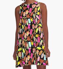 Aussie Ice Creams - Scatter - Black A-Line Dress