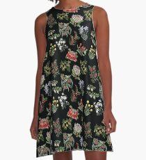 Native Flower Lino Print A-Line Dress