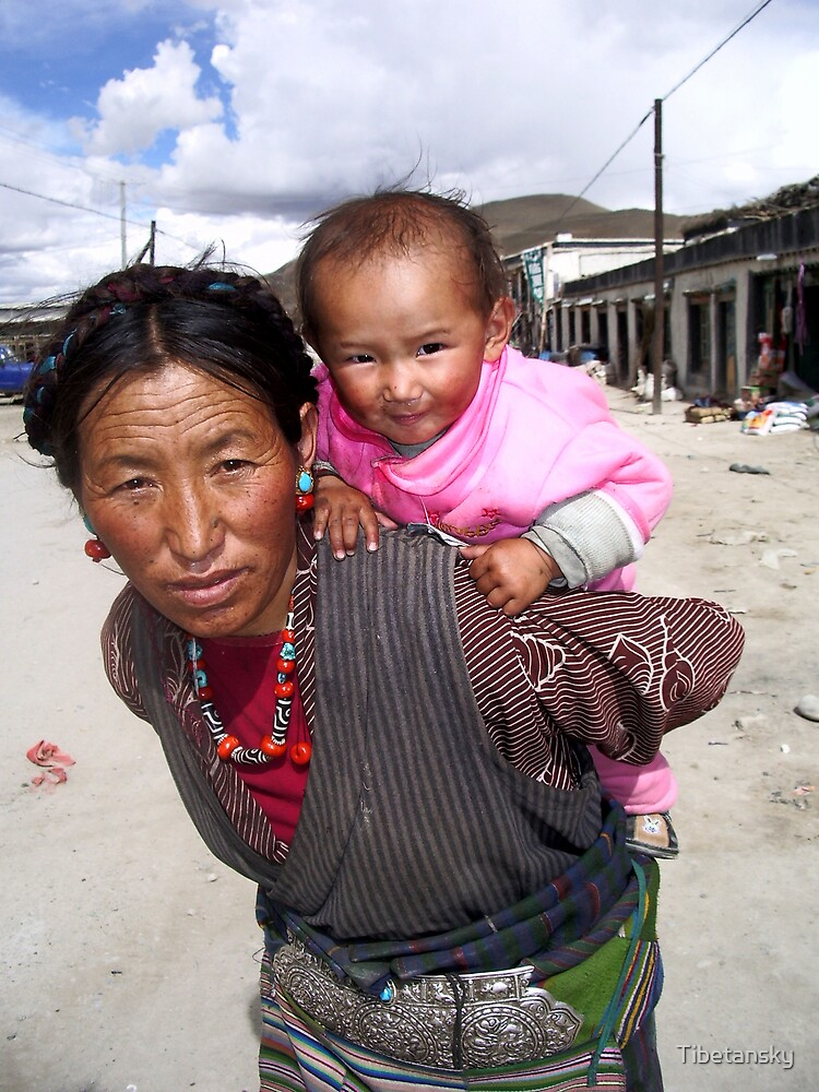 Tibetan woman and little girl by Tibetansky