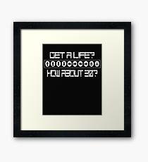 Funny 80s Retro Video Cheat Code  Framed Print