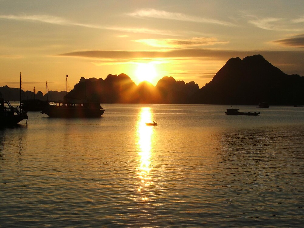Dusk in Halong Bay by Simmone