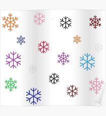 Colorful Snowflakes Poster