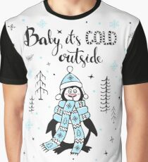 Cute funny freezing outside in forest Penguin Graphic T-Shirt
