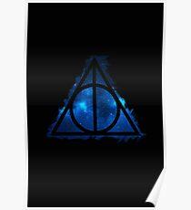 Galaxy hallows blue - wand, cloak, stone Poster