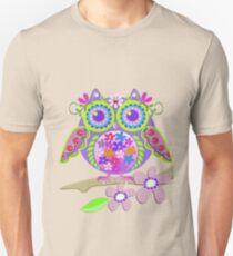 Cute Flower Power Owl Unisex T-Shirt