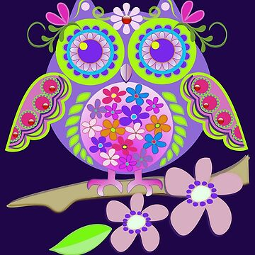 Cute Flower Power Owl by walstraasart