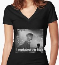 Imma need bout tree fiddy Women's Fitted V-Neck T-Shirt