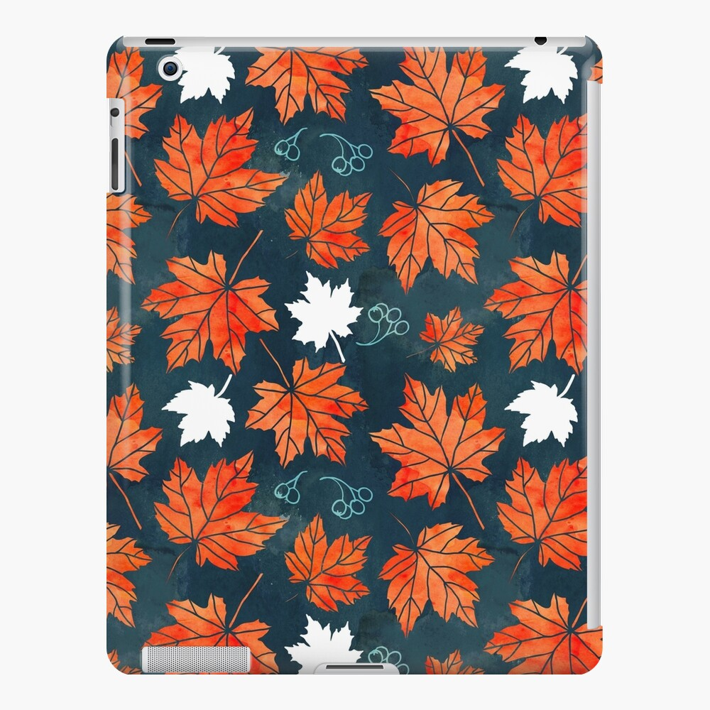 Autumn leaves against dark blue iPad Case & Skin