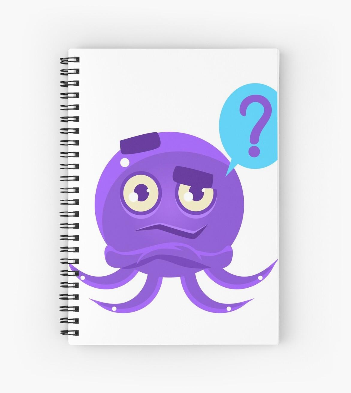 Funny Octopus Raising Eyebrow Emoji Spiral Notebooks By Topvectors