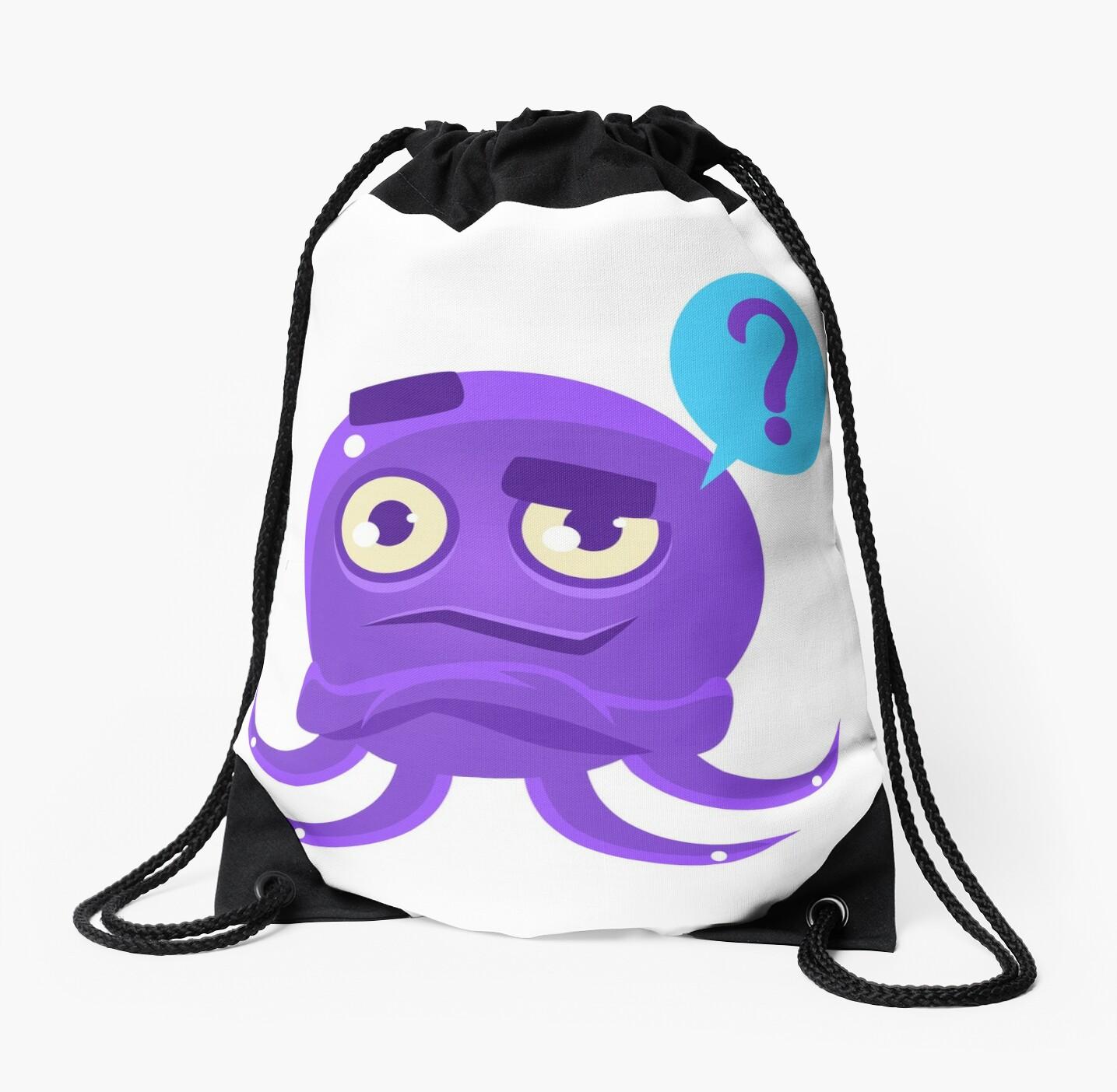 Funny Octopus Raising Eyebrow Emoji Drawstring Bags By Topvectors