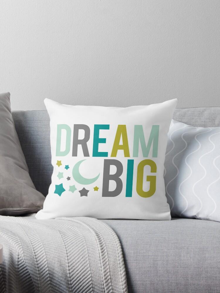 Dream Big! (stars and moon) teal, green, grey, mustard by teeteeboom