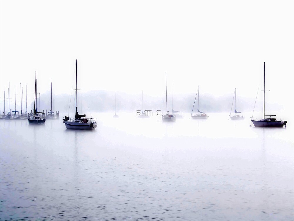sailboats in the fog by s m c