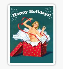 Happy holidays! Topless pin-up coming from a big gift Sticker