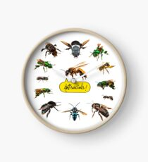 Antisocials! A honeybee surrounded by non-social bees! Clock