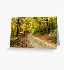 Golden Autumn Road Greeting Card