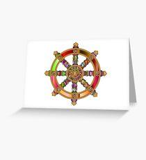 Buddhist dharma wheel prismatic Greeting Card