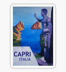 Capri mit Roman Empire Statue - Retro Poster Sticker