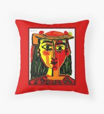 LADY in RED : Vintage Abstract Fantasy Painting Print Throw Pillow