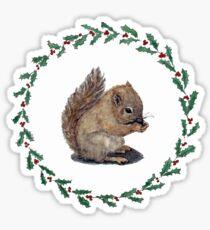 Pegatina Baby Squirrel con Holly Wreath