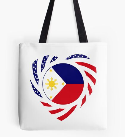 Filipino American Multinational Patriot Flag Series (Heart) Tote Bag