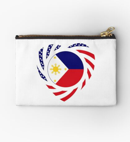 Filipino American Multinational Patriot Flag Series (Heart) Zipper Pouch