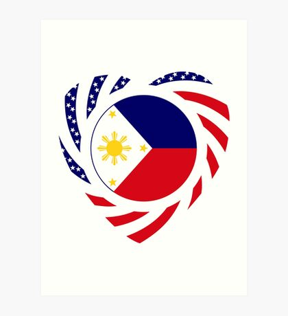 Filipino American Multinational Patriot Flag Series (Heart) Art Print
