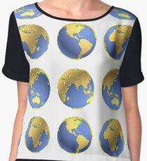 Earth globes vector pattern Chiffon Top