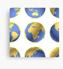 Earth globes vector pattern Canvas Print