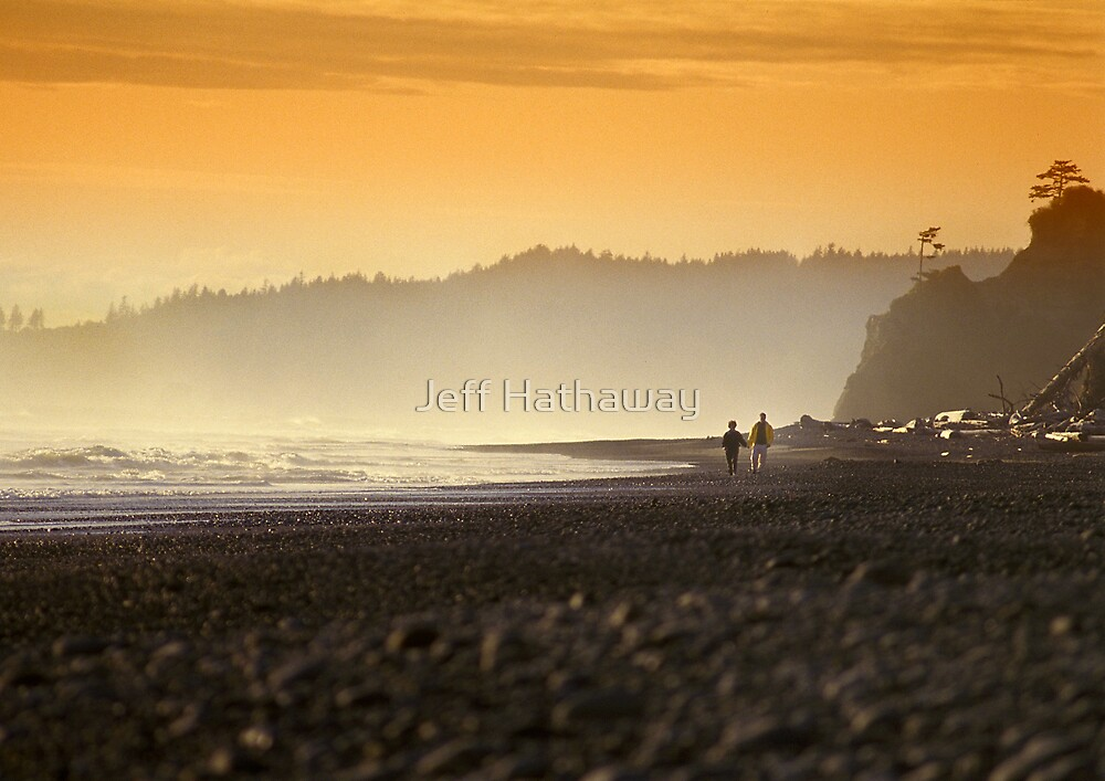 Walking along the ocean shore by Jeff Hathaway