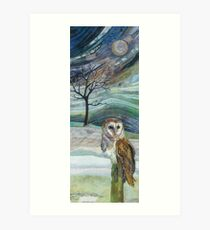 Waiting for his Supper - Barn Owl Embroidery - Textile Art Art Print