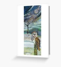 Waiting for his Supper - Barn Owl Embroidery - Textile Art Greeting Card