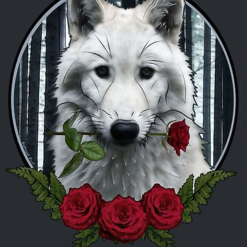 Wolf with Rose - Graphic Style by Destroyed-Pixel