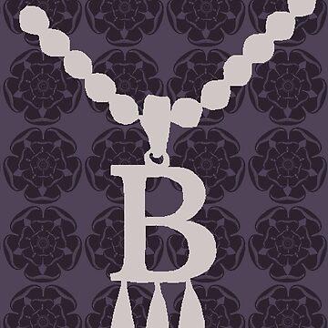 Anne Boleyn B necklace with tudor rose by chihuahuashower