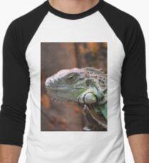 Beautiful peaceful Iguana Lizard sitting on a tree.  Men's Baseball ¾ T-Shirt
