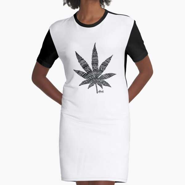 Chronic Leaf Graphic T-Shirt Dress