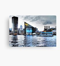 Baltimore City  Maryland Inner Harbor Night Scene Canvas Print