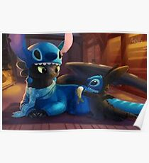 toothless&stitch Poster