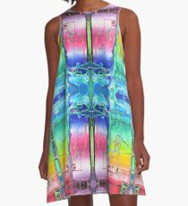 NOTHING IS EVERYTHING ALL AT ONCE original acrylic painting, Rainbow Abstract Psychedelic Pattern A-Line Dress