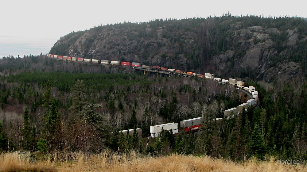 canadian rail way rustic cliffs lake superior by loralea