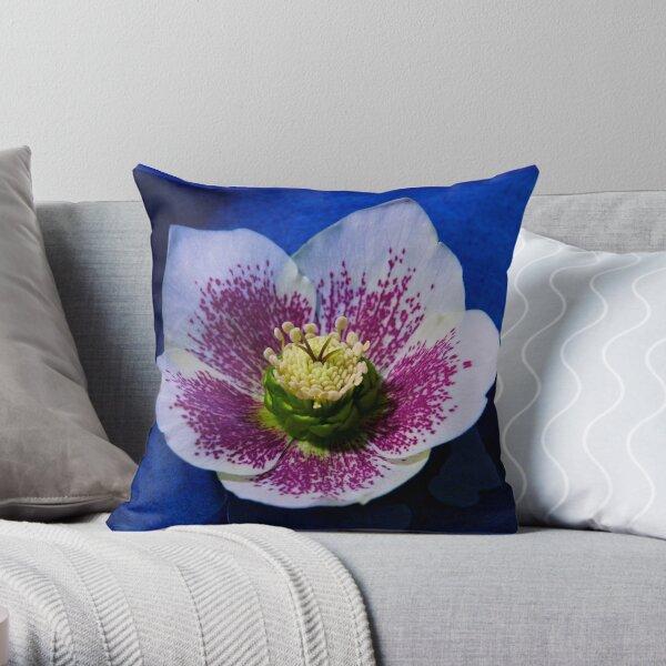 Hellebore Flower Head Throw Pillow