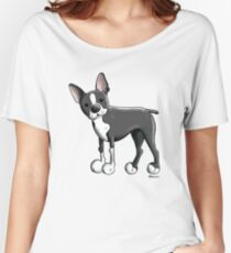 Cute Boston Terrier Dog Cartoon Women's Relaxed Fit T-Shirt