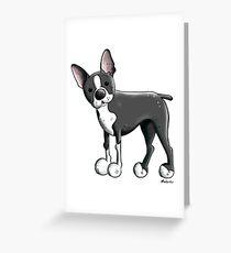 Cute Boston Terrier Dog Cartoon Greeting Card