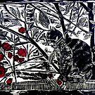"""Poppy on the Deck-Woodcut by Belinda """"BillyLee"""" NYE (Printmaker)"""