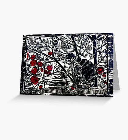 Poppy on the Deck-Woodcut Greeting Card
