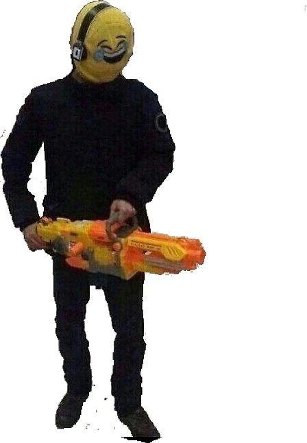 Emoji Guy with Nerf Gun by Jonnyman
